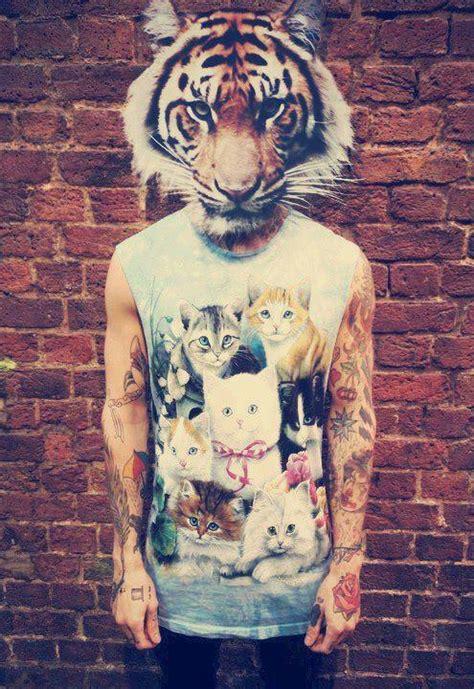 tattoo cat man alternative cat guy head image 726261 on favim com