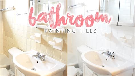 how to paint a bathroom bathroom makeover how to paint bathroom tiles youtube