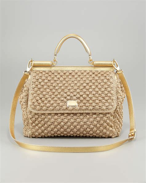 Dg Dolce And Gabbana Suzanne Satchel by Lyst Dolce Gabbana Miss Sicily Metallic Crochet Flap