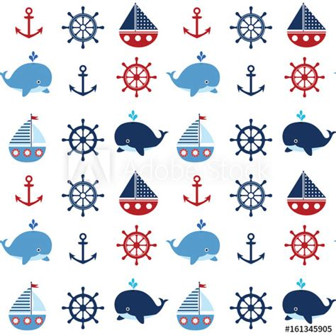 cute nautical pattern cute seamless nautical pattern with boats and whales in