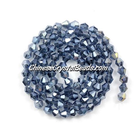 4mm bicone bead strand mexican blue ab