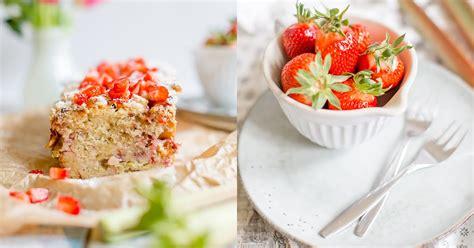 kuchen mit rhabarber und erdbeeren alles und anderes saftiger rhabarber kuchen mit erdbeeren
