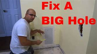 how do you fix a hole in a leather couch how to fix a big hole in the wall youtube