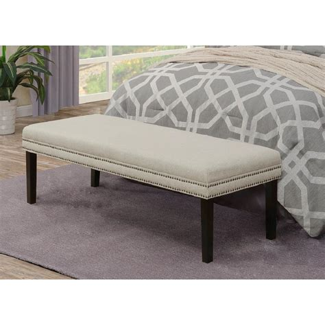 linen upholstered bench linen white upholstered bed bench with nail head trim ds