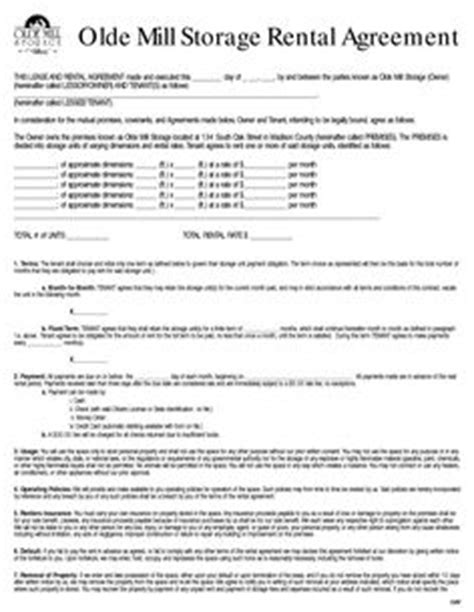 Garage Rental Lease by Renters Lease Agreement Real Estate Forms Forms