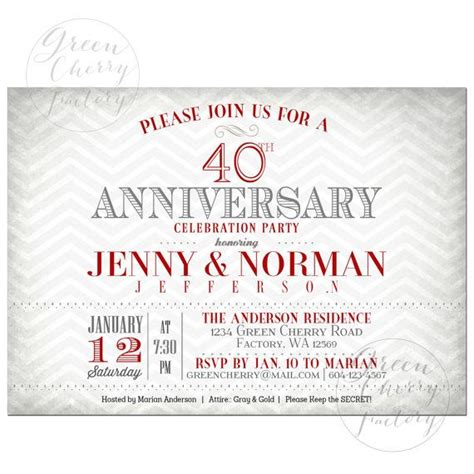 40th wedding anniversary invitations 40th wedding anniversary invitation ruby