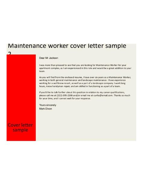 building maintenance worker cover letter sles and templates