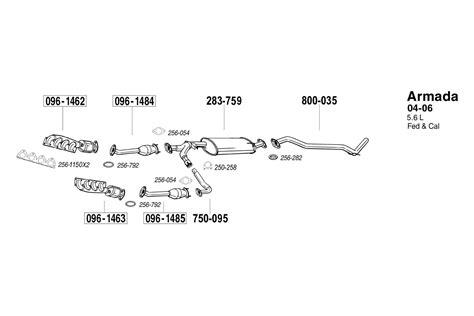 2006 nissan armada catalytic converter bosal 174 nissan armada 2005 2006 exhaust manifold with