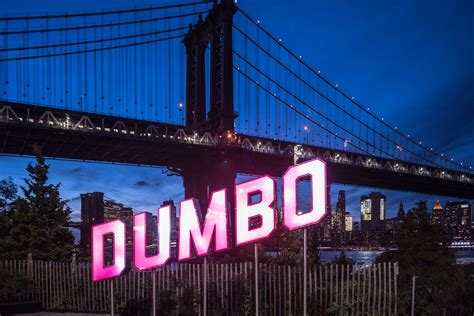 dumbo section of brooklyn flashy functional sign celebrating dumbo arrives in