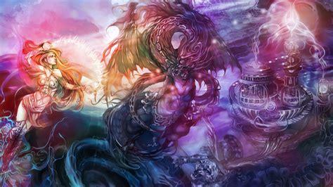 fantasy art dragon magic women females girls castle dark