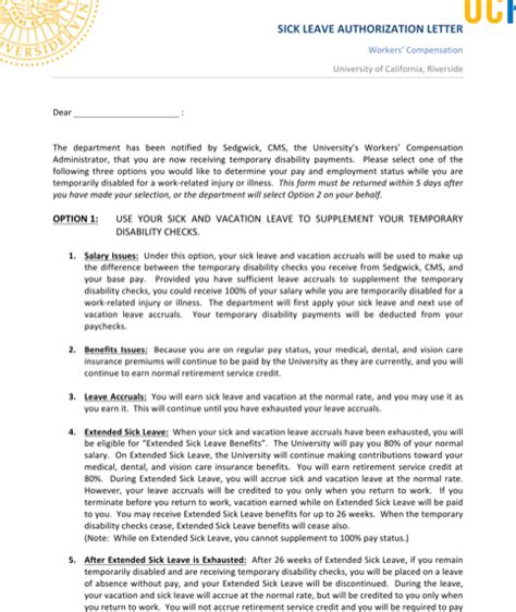 Permission Letter For Sick Leave Leave Letters For Free Formtemplate