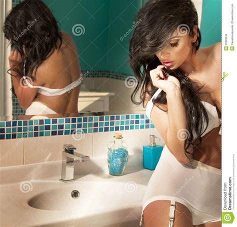 sexy bathroom poses sensual brunette posing in bathroom royalty free stock