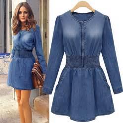 plus size blue jeans dress long sleeve high waist denim