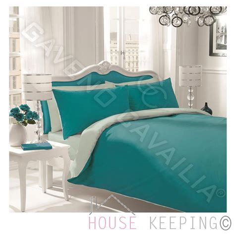 Teal Duvet Cover King Teal Duck Egg Reversible Plain Dyed Polycotton King Size