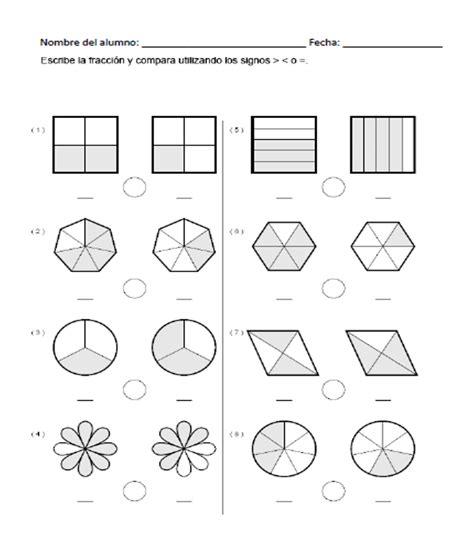 ejercicios de fracciones para cuarto de primaria ejercicios para comparar fracciones recursos did 225 cticos