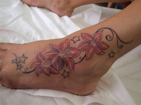 pink flower tattoo pink flowers left ankle