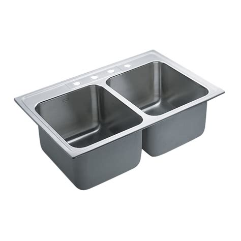 kitchen double sink shop moen commercial 37 9 in x 23 7 in stainless steel