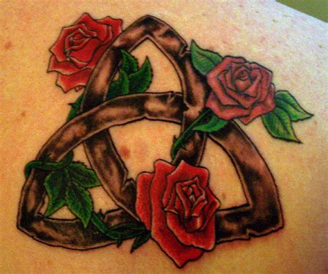 three roses amp triquetra three roses triquetra tattoo by