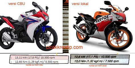 Sparepart Honda Cbr150r Lokal loh yo tenaga honda cbr150r versi lokal lebih rendah dibanding versi thailand tinggian yang cbu