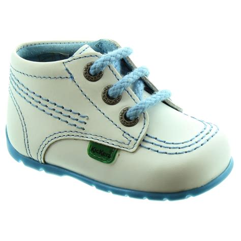 kickers leather kick hi baby shoes in white blue in