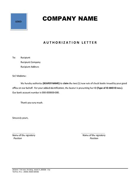 authorization letter with id best photos of company letter of authorization business authorization letter sle