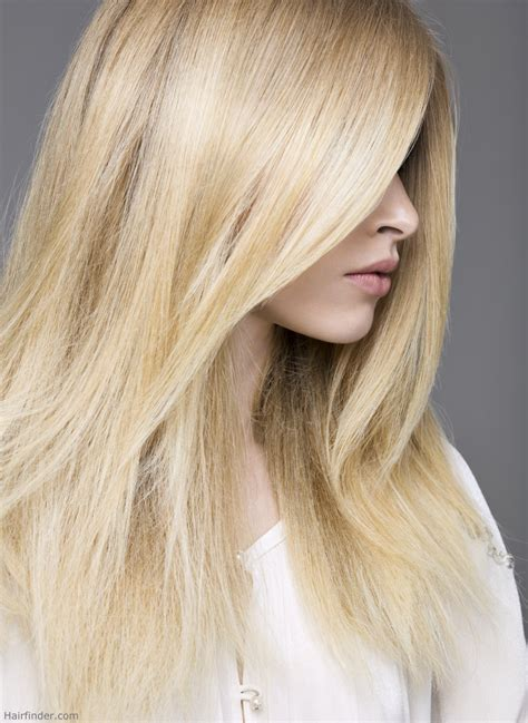 Long and straight blonde hair with platinum streaks