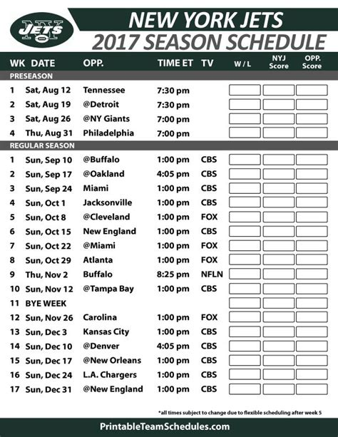 printable jets schedule 38 best nfl football schedule 2017 images on pinterest