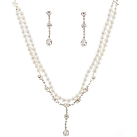 Set Faux Pearl Earring Necklace wedding jewelry set silver plating faux pearl accent