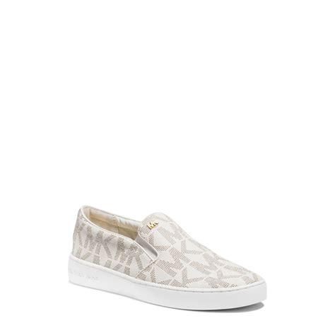 michael kors slip on sneakers michael kors keaton logo slip on sneaker in white lyst