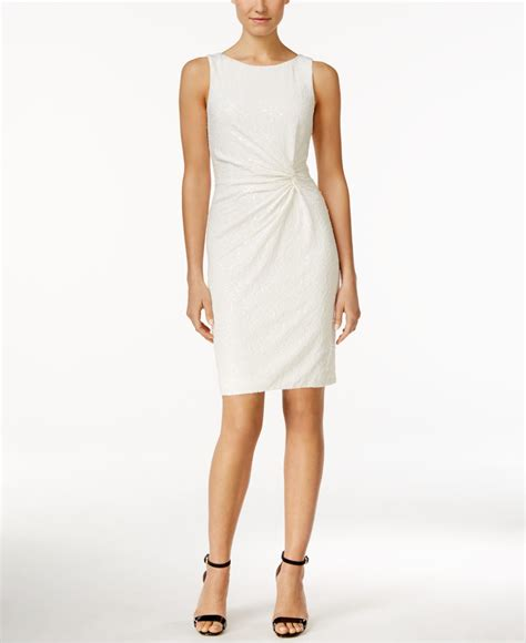 Sequined Sheath Dress calvin klein sequined sleeveless sheath dress in white lyst
