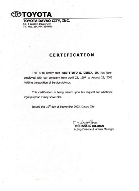 letter of certification of previous employment employment certificate sle best templates