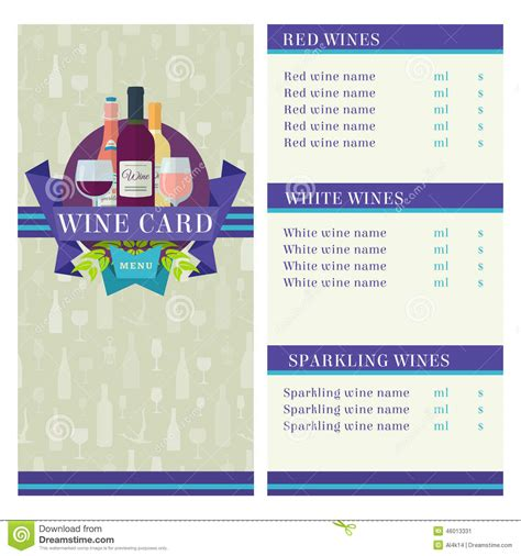 Wine Card Template by Wine Card Template Stock Vector Image 46013331