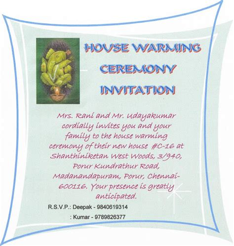 Invitation Letter Housewarming Ceremony Our New House House Warming Ceremony Invitation