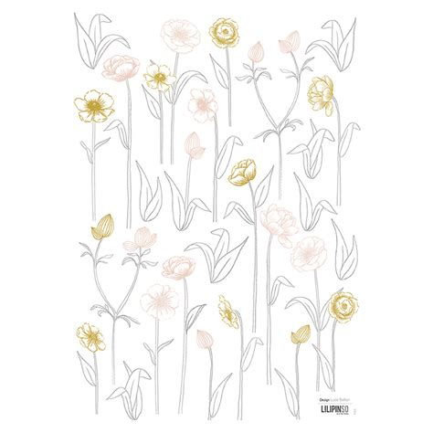 Wandsticker Gold by Lilipinso Kinderzimmer Wandsticker Blumen Grau Gold