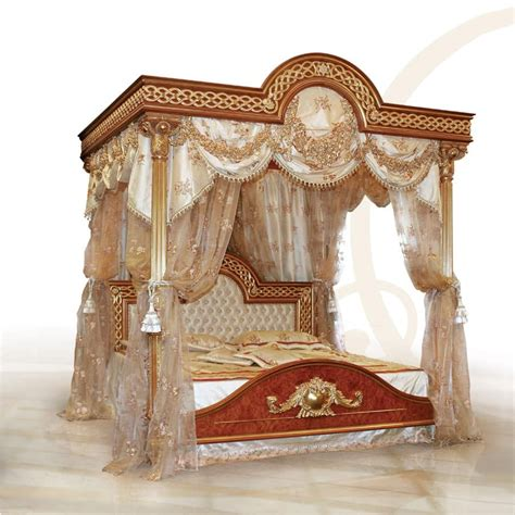 luxurious bed with canopy solid carved wood idfdesign