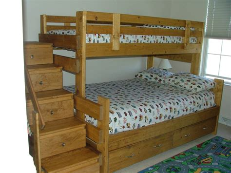 bunk beds twin over full with stairs free plans for bunk beds twin over full nortwest woodworking with stairs image