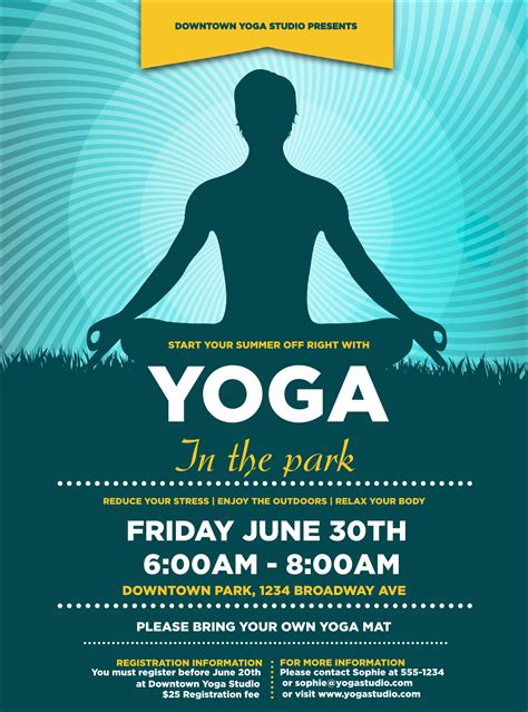 templates for yoga flyers yoga meditation flyer