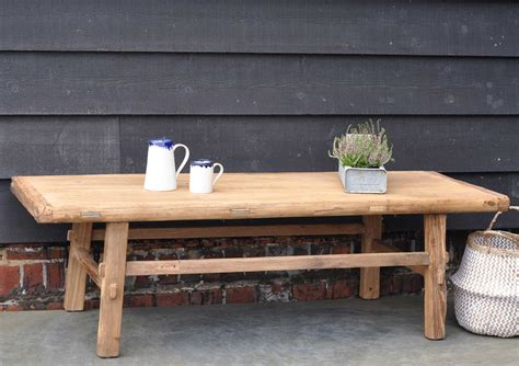 Rustic Coffee Tables Uk Rustic Reclaimed Elm Coffee Table With Rail Stretcher Base Home Barn Vintage