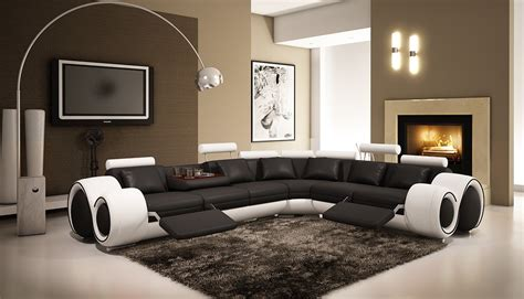 Black And White Recliner by 4087 Black And White Leather Sectional Sofa With Recliners