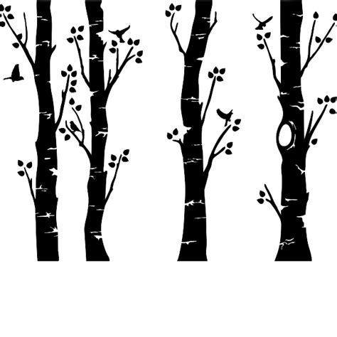 Tree Wall Murals For Nursery by Wide Birch Trees Wall Decal