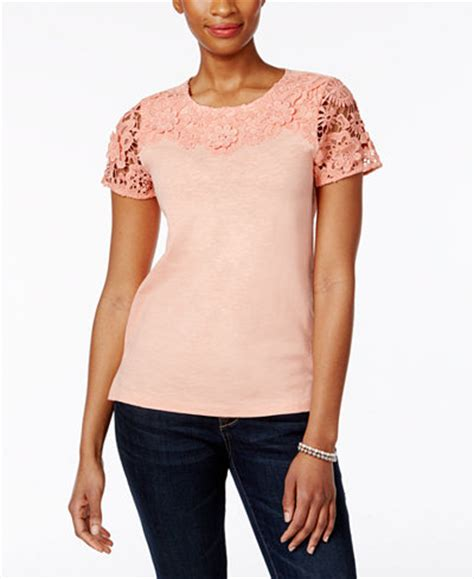 Charter Club Blouse Ccb Branded Tunik charter club cotton lace sleeve top only at macy s tops macy s