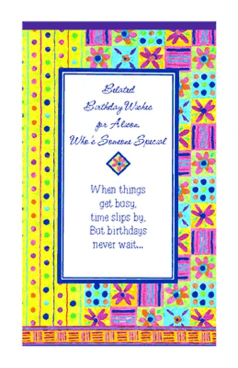 printable birthday cards belated quot thoughts were on time quot belated birthday printable card