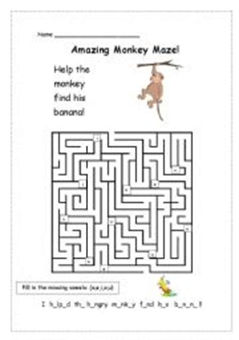 printable monkey maze english worksheets animals 4 amazing monkey maze editable