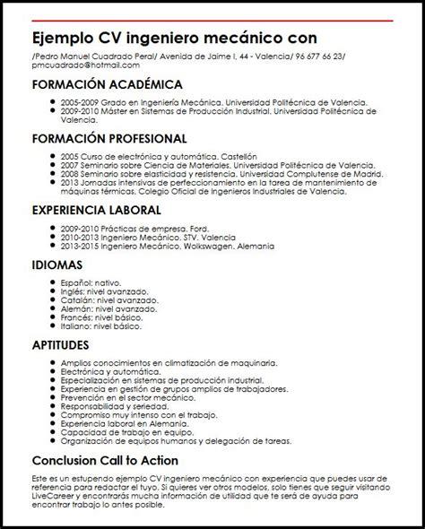 Modelo Curriculum Ingeniero Mecanico Ejemplo Cv Ingeniero Mecanico Con Experiencia Micvideal