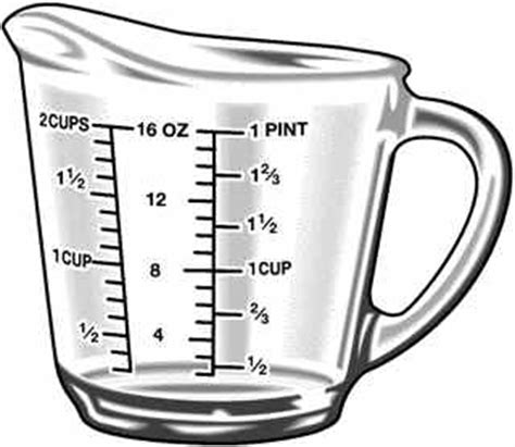 Abbreviations For Kitchen Measurements by Pics For Gt Dry Measuring Cup Clip Art