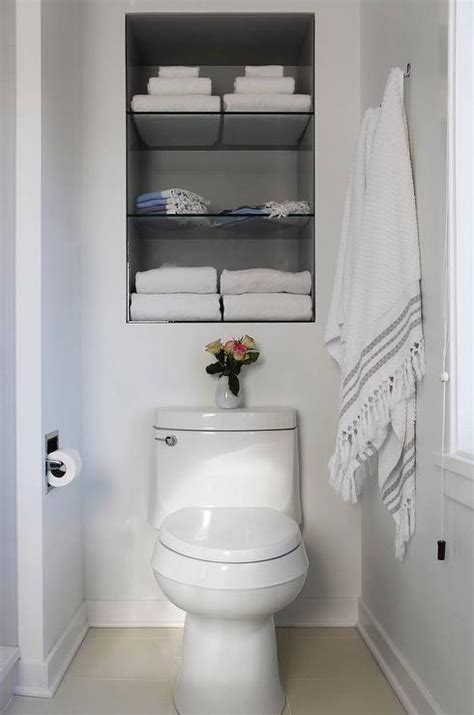 Recessed Bathroom Storage Recessed Shelves Toilet Transitional Bathroom