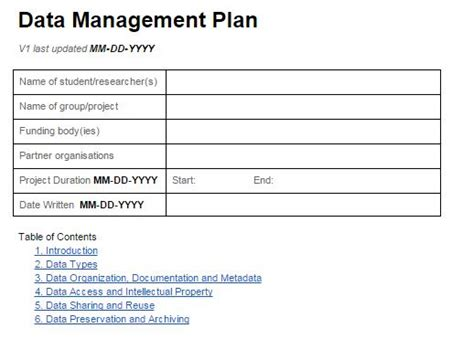 data management plan template sle research plan template exle for research plan research