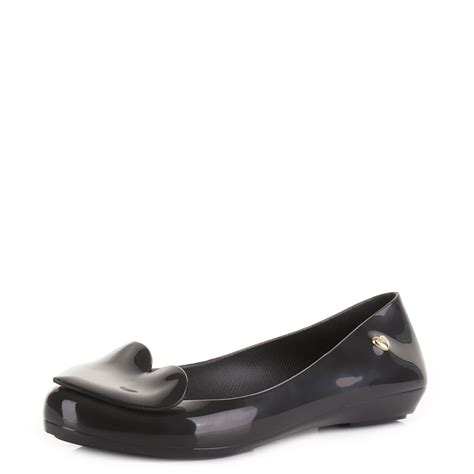 black flat jelly shoes womens mel shoes pop 2 black jelly ballerina flat