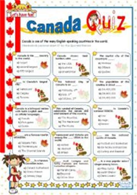 printable quiz about canada english worksheets canada quiz