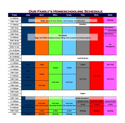family schedule template 10 free sle exle format
